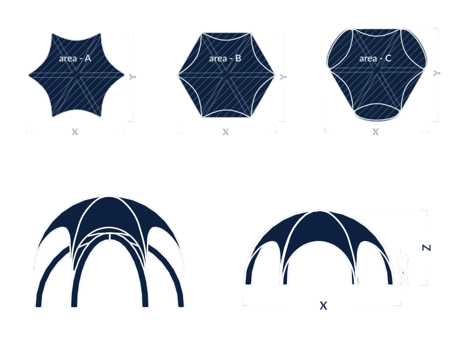 Information sketch of Spider shape inflatable for event tent
